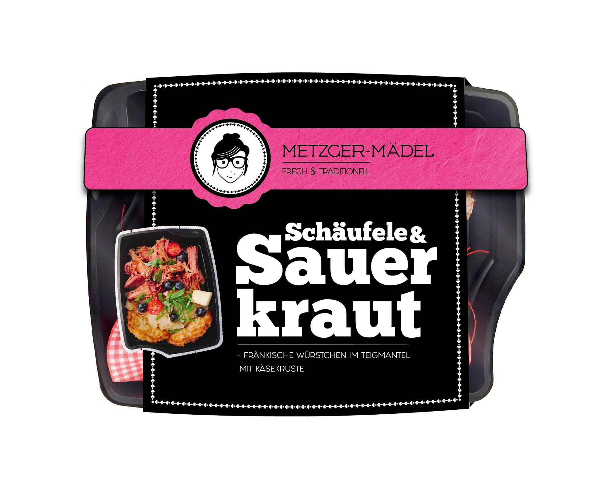 verpackungsdesign Edeka Metzger Mädel schäufele & Sauerkraut