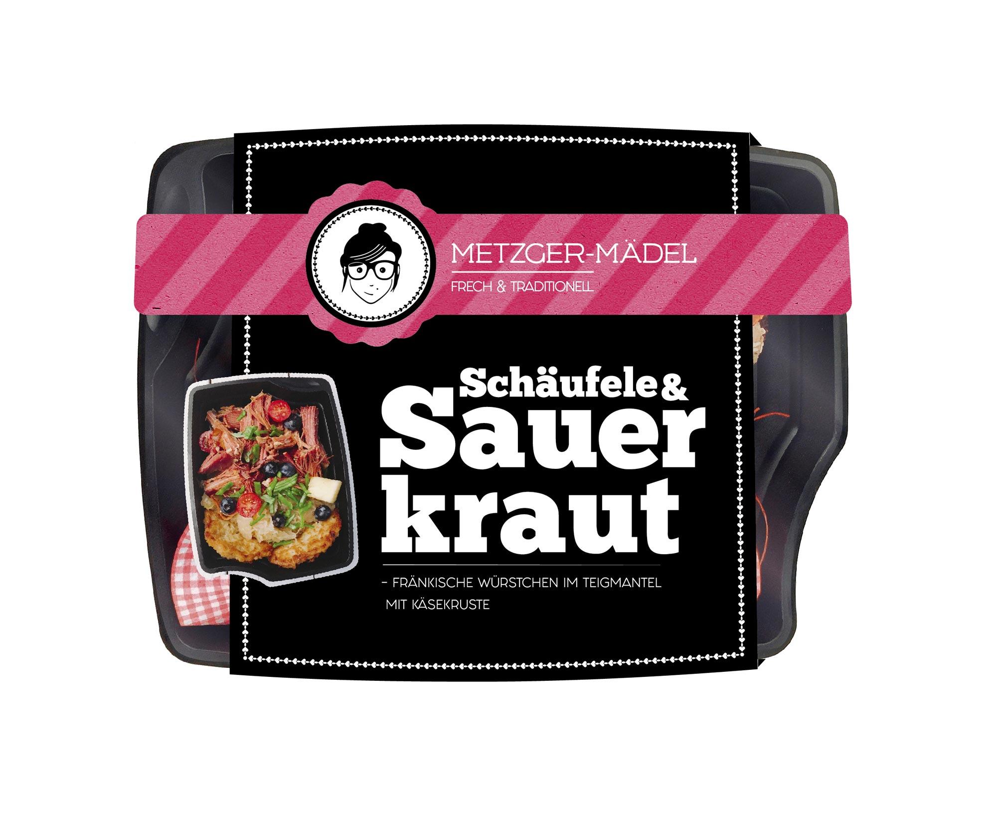 verpackungsdesign Edeka Metzger Mädel schäufele und Sauerkraut