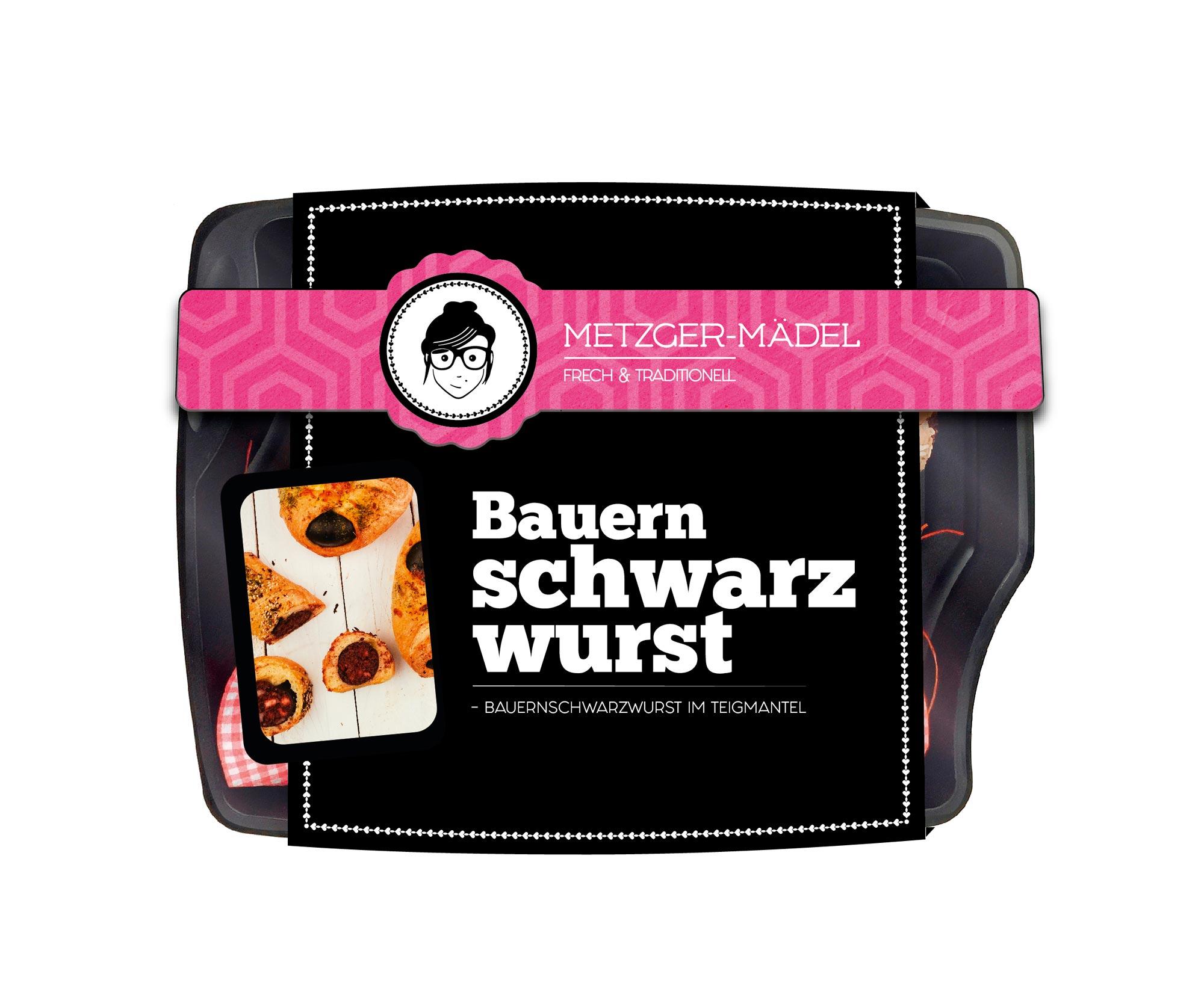 Verpackungsdesign Edeka Metzger Mädel Bauern Schwarzwurst