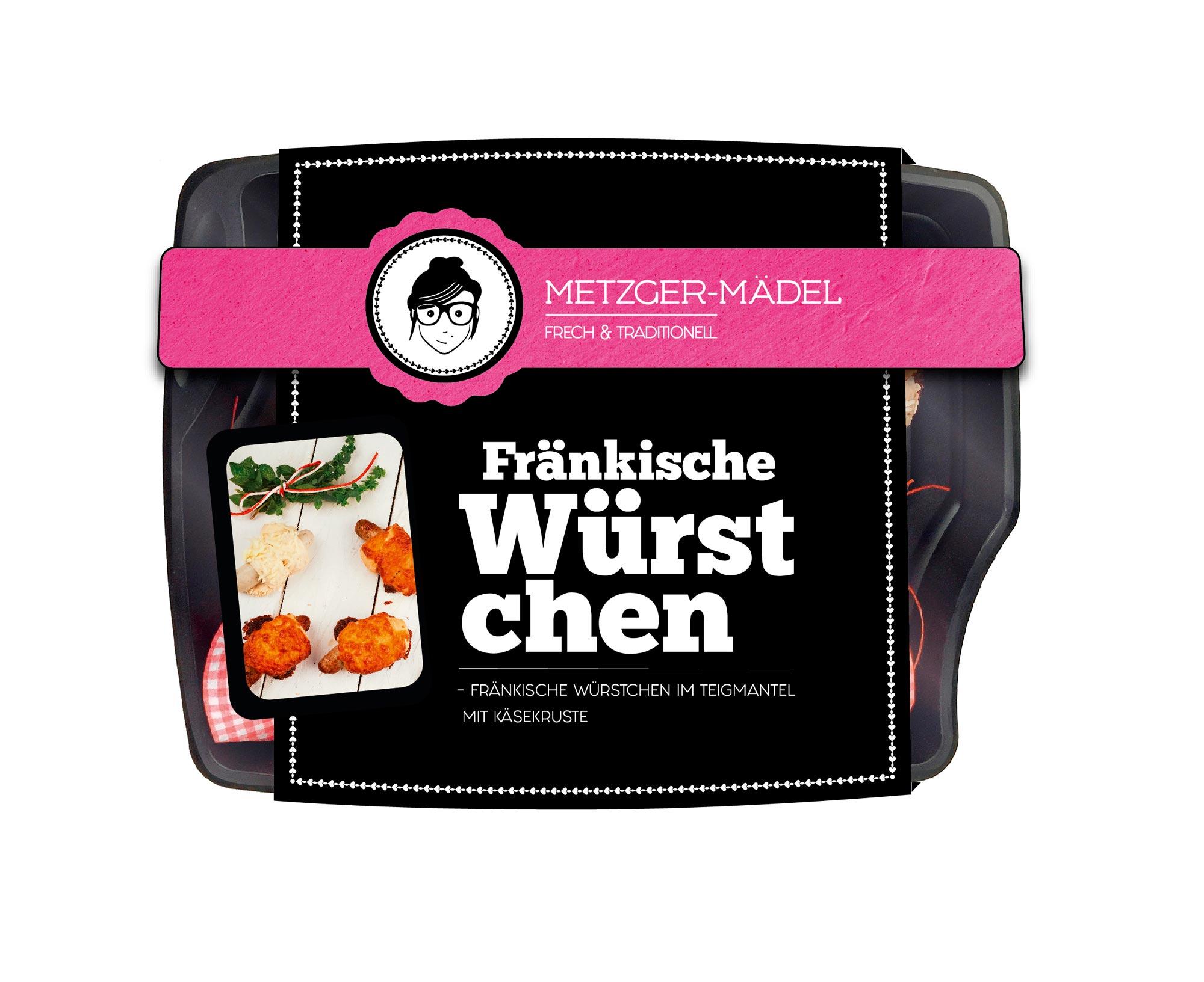 Verpackungsdesign Edeka Metzger Mädel Fränkische Würstchen
